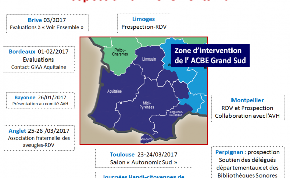 Planning 2017 - Journée Handi Cytoienne Toulouse 7 mars, Salon Autonomic 23 - 24 mars, Anglet 25 au 26 mars, Prospection à Montpellier, Perpignan et Limoges, Evaluations à Limoges